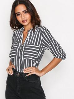 Vero Moda Vmerika Stripe 3/4 Shirt E10 Noos Black