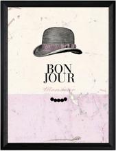 "Tavla ""Bon Jour"" - Svart ram"