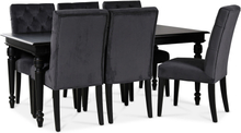 Paris matgrupp 180 cm bord svart + 6 st Ventos matstolar grått sammet