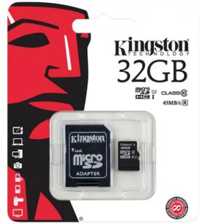 Kingston minneskort, microSDHC, 32GB Class 10 SDC10G2/32GB - Kingston