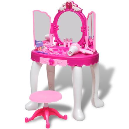 vidaXL Sminkbord för barn med 3 speglar och ljud- och ljuseffekter