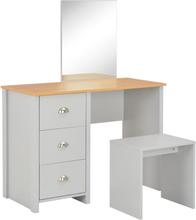 vidaXL sminkebord m. spejl og taburet 104 x 45 x 131 cm grå