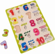 Houten knoppuzzel cijfers met handgebaren
