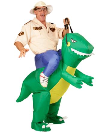 Opdagelsesrejsende ridende på dinosaurus kostume voksen One-size - Vegaoo.dk