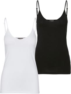 VERO MODA 2-pakning Singlet - Dame - Black / White - Størrelse XL