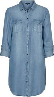 VERO MODA Denim Skjort Midiklänning Kvinna Blå