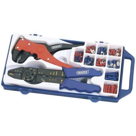 Draper Tools sæt med crimptang og afisoleringstang stål 33079