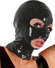 LATE X - Latex mask med hål för mun och ögon svart