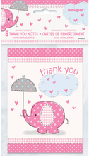 Baby Shower Girl Tackkort Umbrellaphant