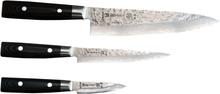 Yaxell Zen Knivset 3-delar - Kockkniv, Allkniv, Skalkniv