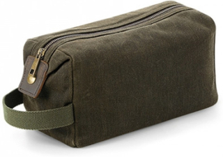 Heritage Waxed Canvas Wash Bag Olive Green