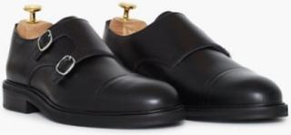 Selected Homme Slhfilip Leather Monk Shoe B Elegante sko Sort