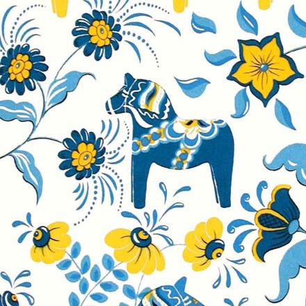 Dalahäst stoff blå-gul