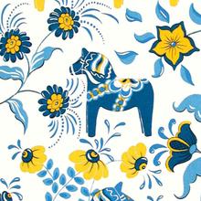 Leksand stoff blå-gul