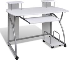 vidaXL Valkoinen Tietokonepöytä Ulosvedettävällä Näppäintasolla