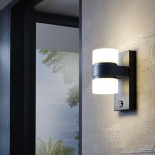EGLO Utendørs LED-vegglampe med sensor Atollari 2x6W antrasitt