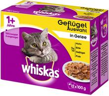 Multipack Whiskas 1+ Adult Frischebeutel 12 x 100 g - Geflügelauswahl in Gelee