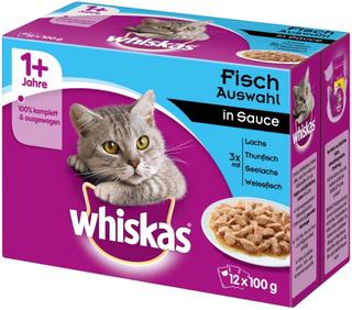 Megapakke: 96 x 85 / 100 g Whiskas portionsposer - 7+ Senior Mix: Fjerkræ i sovs + Blandet udvalg i sovs (96 x 100 g)