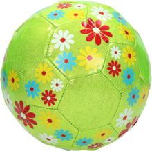 Grøn glimmer fodbold med blomster - Ø20 cm
