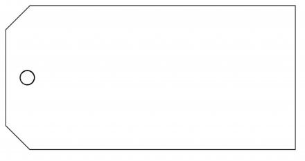 Manillamærker PP m/1 hul hvid 60x120mm