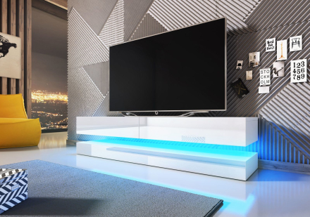 Float tv-bänk med LED belysning - vit högglans
