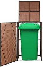 vidaXL skjuler til 1 affaldsspand polyrattan 76 x 78 x 120 cm brun