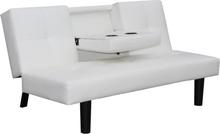 vidaXL Bäddsoffa med nedfällbart bord vit konstläder