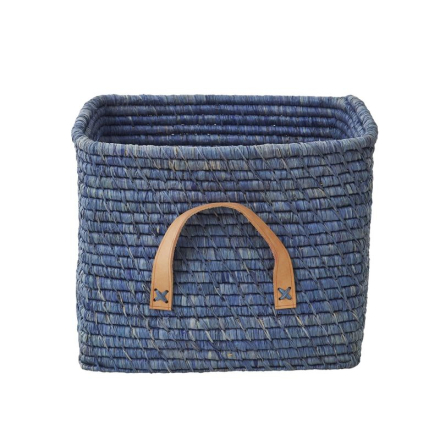 Förvaringskorg med läderhandtag, Blå Rice
