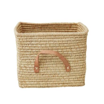 Förvaringskorg med läderhandtag, Natur Rice