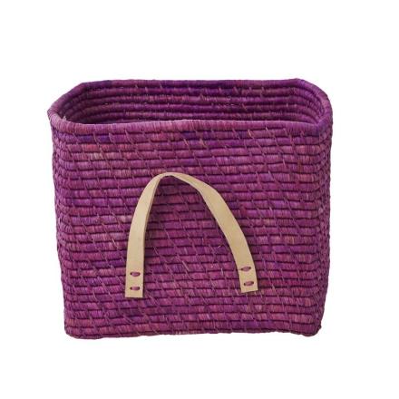 Förvaringskorg med läderhandtag, Lavendel Rice