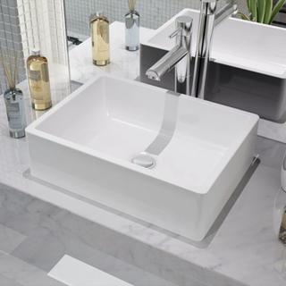 vidaXL håndvask rund keramik 41x30x12 cm hvid