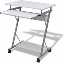 vidaXL Datorskrivbord med utdragbar hylla för tangentbordet vit