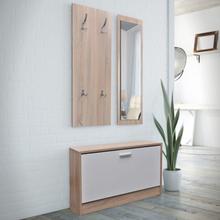 vidaXL Skoskåp 3-i-1 med spegel och hängare ek vit