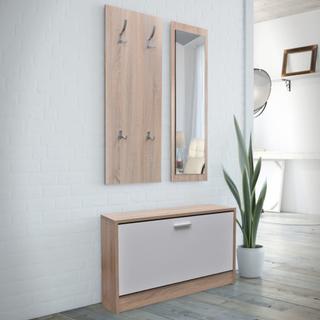 vidaXL 3-i-1 Skoskåp med spegel och hängare ek vit