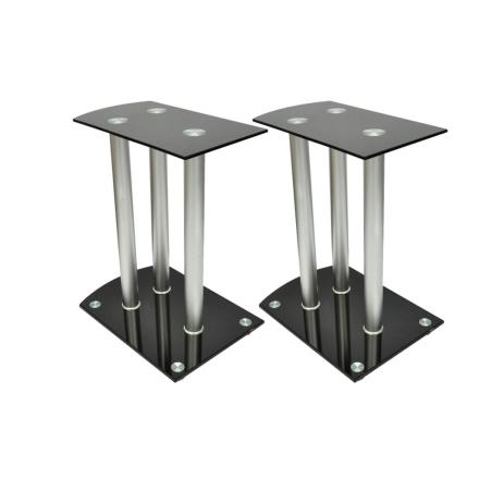 vidaXL Aluminium Høyttaler Bordstativ Svart Glass 2stk