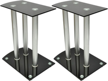 vidaXL Højttalersokler 2-pak sort sikkerhedsglas
