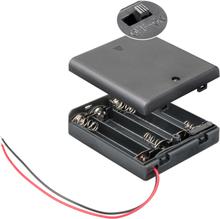 Batterihållare med strömsladd - För 4st AA batteri