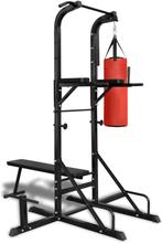 vidaXL Power Tower med sit-up-bänk och boxning väska