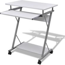 vidaXL Tietokonepöytä ulosvedettävällä näppäimistötasolla Valkoinen