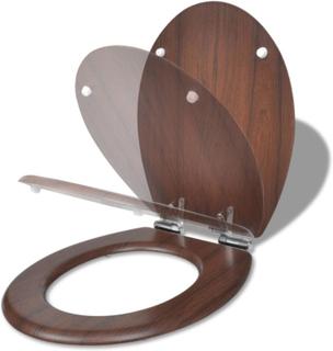 vidaXL toiletsæde MDF soft close-låg enkelt design brun