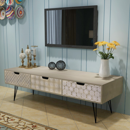 vidaXL TV-bänk med 3 lådor 120x40x36 cm grå
