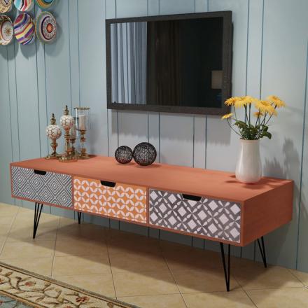 vidaXL TV-kabinett med 3 skuffer 120x40x36 cm Brun