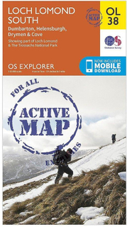 ORDNANCE SURVEY Explorer aktiv karta OL38 Loch Lomond södra karta m...