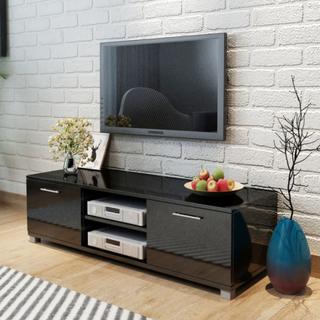 TV-benk høyglans sort - 120x40,3x34,7 cm