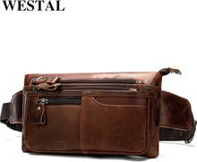 WESTAL Men Waist Bags Genuine Leather Belt Bag Men Fanny Pack Fashion Men's Waist Pack Money Belt Hip Bag Belts Pouch Bag 8953