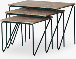 Triptych Nesting Table, MONACO BROWN MARBLE ON CEDAR GREEN STEEL FRAME