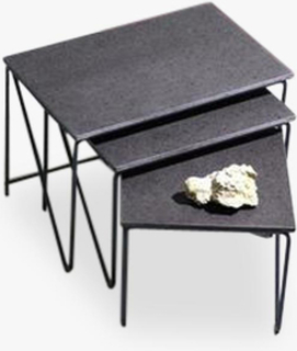 Triptych Nesting Table, RAW BLACK LAVA STONE ON NAVY BLUE STEEL FRAME