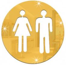 Klistermärke Dekal Toa Toalett Brådskande Man och Kvinna Guld
