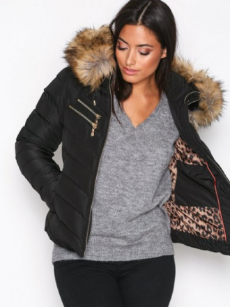 Hollies Chatel Gold Zip Fake Fur Dunjackor Black