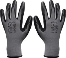 vidaXL Arbetshandskar nitril 24 par grå och svart strl. 8/M
